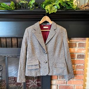 Kate Hill Gray Wool Blend Fully Lined Blazer 10
